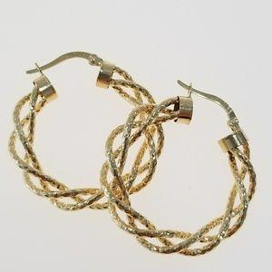 Jewelry - 14k yellow gold hoops earrings diamond cut medium
